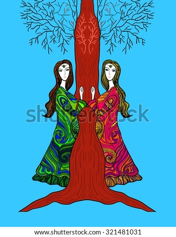 Two pregnant women standing near the tree. Vector illustration. - stock vector