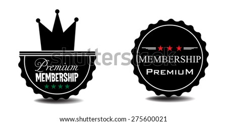 Two premium membership badges isolated on a white background