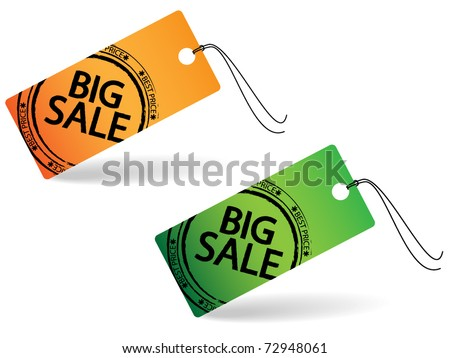 Two price tag with stamp - big sale - stock vector