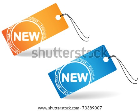 Two price tag with stamp - new - stock vector