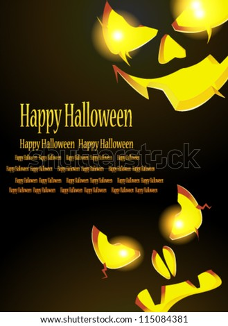 Two pumpkin monster with glowing eyes looking out of the darkness - stock vector