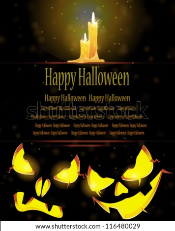Two pumpkin monsters with glowing eyes and burning candles on a dark background - stock vector