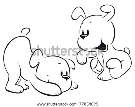 two puppies sketch - stock vector