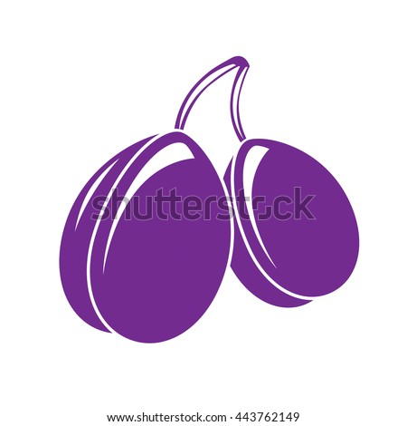 Two purple simple vector plums, ripe sweet fruits illustration. Healthy and organic food, harvest season symbol.  - stock vector