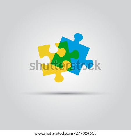 two puzzle pieces vector isolated colored logo - stock vector