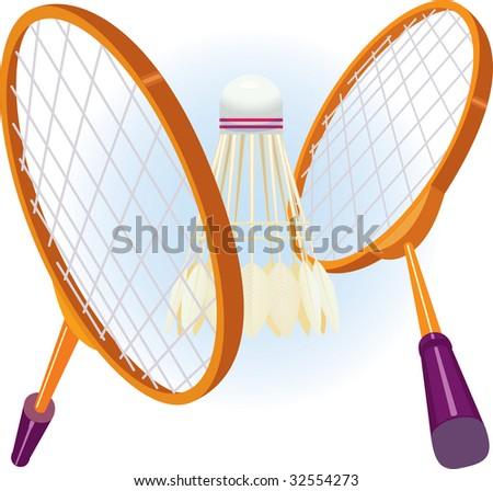 Two rackets for badminton with a shuttlecock in game position. vector. illustration - stock vector