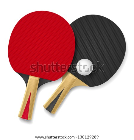 Two rackets for playing table tennis.  Illustration on white background - stock vector