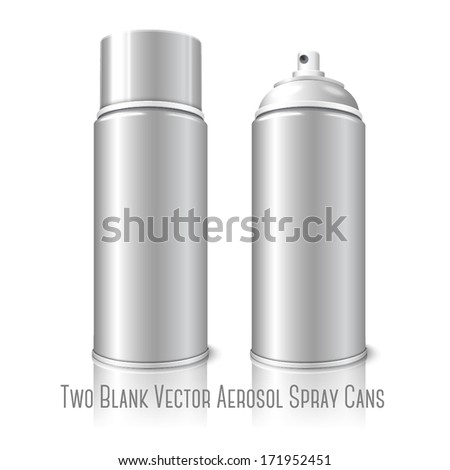 Two realistic, isolated on white background with reflection, blank vector aerosol spray metal 3D bottle cans - opened and with cap. For paint, graffiti, deodorant, foam, cosmetics etc. - stock vector