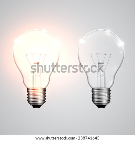 Two realistic lightbulb - on and off, vector - stock vector