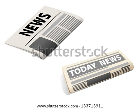 Two realistic newspaper icons isolated on white background. Jpeg (bitmap) version also available in gallery - stock vector