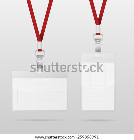 Two Realistic Plastic ID Horizontal And Vertical Badges With Red Lanyards. Vector EPS10 illustration.  - stock vector