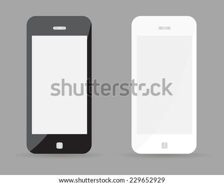 Two realistic smartphone concept - black and white. Highly detailed responsive realistic smart phone mockup isolated on gray background. Vector illustration EPS10 - stock vector