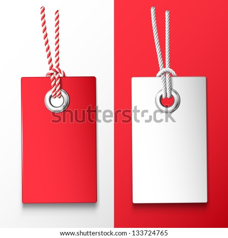 Two red and white price tag. Vector design elements - stock vector