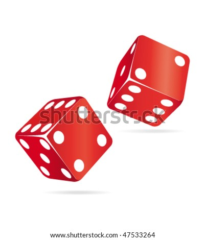 Two red dices. Casino vector icons. - stock vector