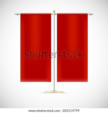 Two red flag on stand, isolated on white background. Vector illustration for your business - stock vector