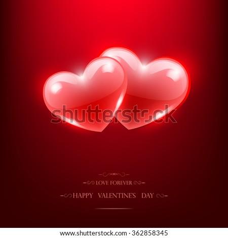 Two red glass hearts, Happy Valentine's Day Poster.  vector - stock vector