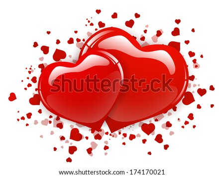 Two Red Heart Over White Background