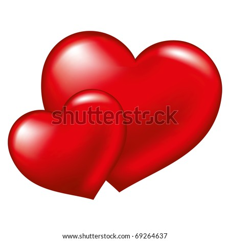 Two red heart,  symbol of love, excellent vector element for your design on Valentine's Day - stock vector