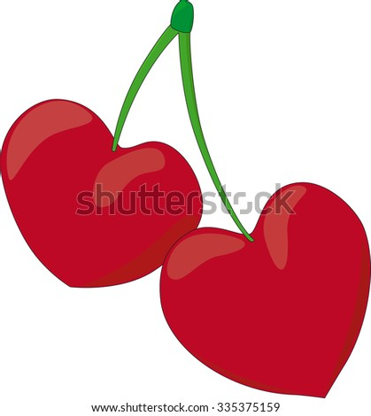 Two red hearts cherry on green sticks - stock vector