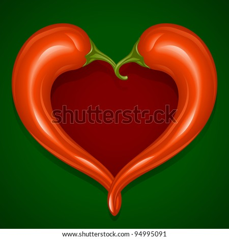Two Red Hot chilli pepper frame in the shape of heart - Love symbol to mexican cooking - stock vector