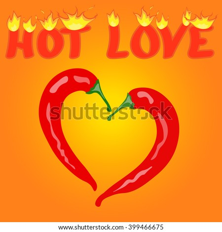 Two Red Hot chilli pepper frame in the shape of heart - Love symbol to mexican cooking. Love hot fire. Vector - stock vector