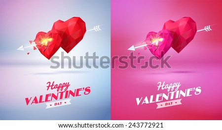 Two red origami heart   pierced by an arrow. Vector Illustration. Abstract polygonal heart. Love symbol. Low-poly colorful style. Romantic background for Valentines day. Eps 10 - stock vector