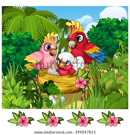 Two red parrots and their nestling. Vector illustration. - stock vector