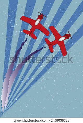Two red planes with contrails flying over an abstract background