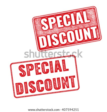 Two red textured stamps Special Discount. Vector realistic Special Discount imprints isolated on white background - stock vector