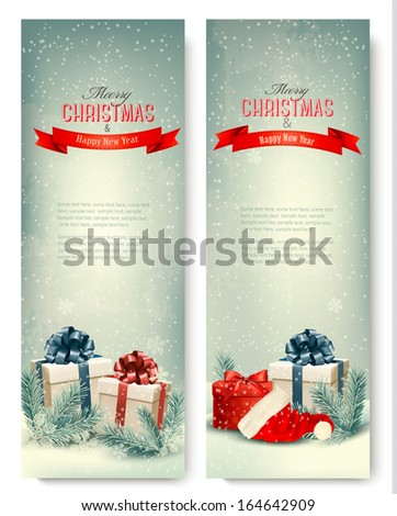 Two retro holiday banners with gift boxes and ribbons. Vector  - stock vector