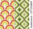 Two 1960 retro inspired seamless patterns - stock vector