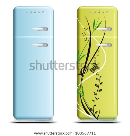 Two retro refrigerators - isolated on white - vector file - stock vector