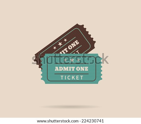 Two retro tickets. Temlate vector illustration for cinema and other events. Text outlined - stock vector