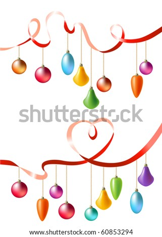 Two ribbons with hanging christmas balls