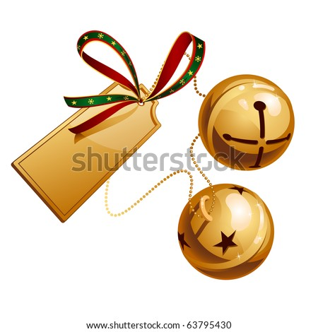 Two ringing shine bells with card - stock vector