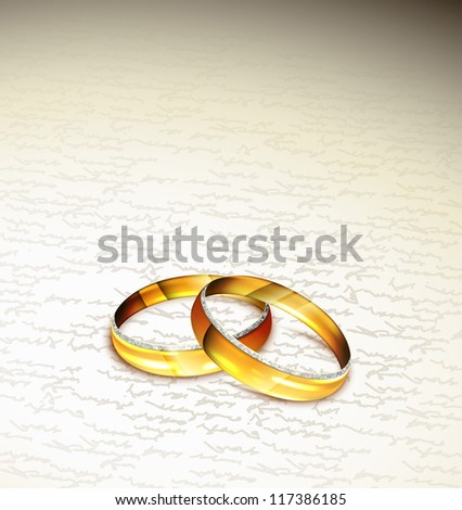 Two rings on background of text. Eps 10 - stock vector