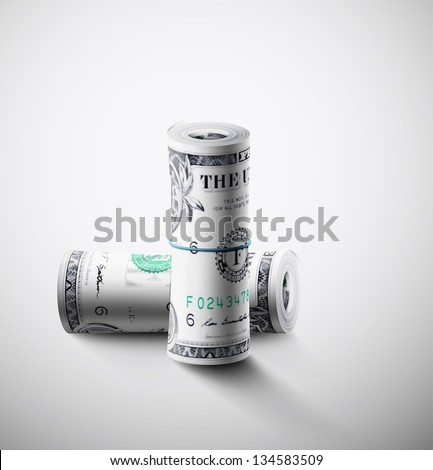Two rolls of dollars. Eps 10 - stock vector