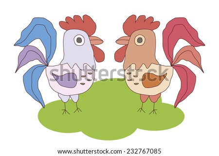 Two Roosters vector image