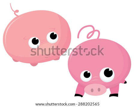 Two round chubby pink cartoon pigs vector illustration.