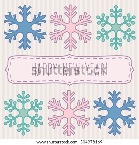 Two rows of pastel colored snowflakes and a frame with New Year greetings.