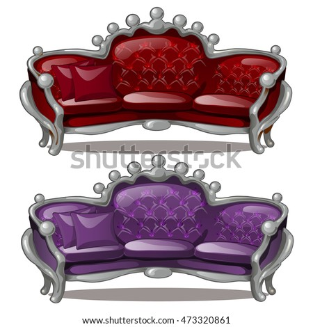 Two Royal sofa isolated on white background. Vector illustration.