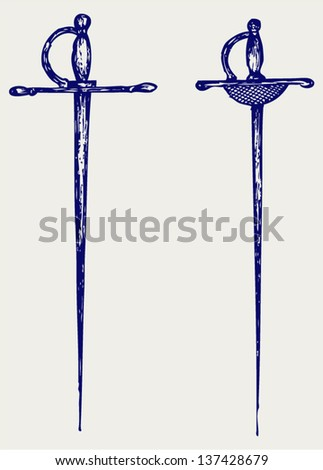 Two saber. Doodle style - stock vector