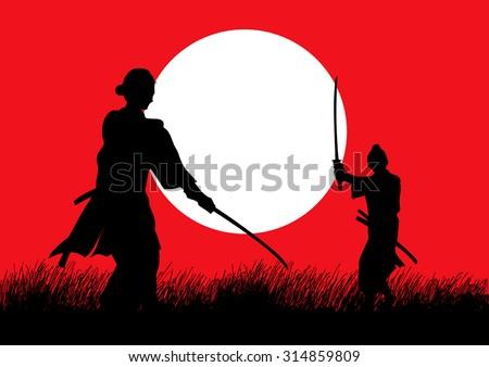 Two Samurai in duel stance facing each other on grass field - stock vector