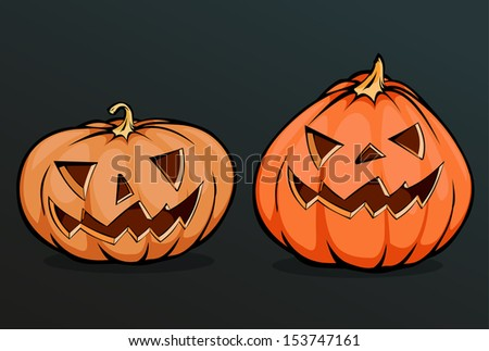 two scary halloween pumpkins isolated on dark background,vector illustration