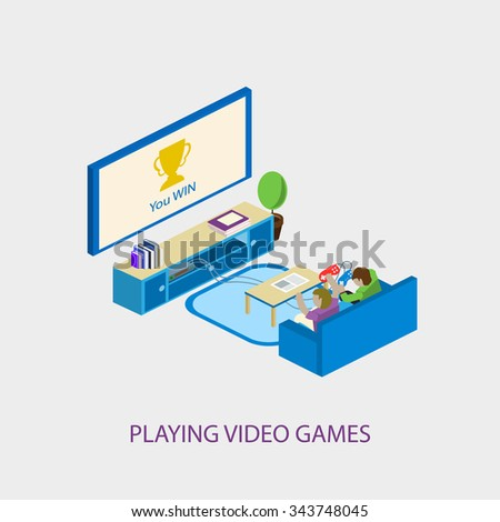 Two school kids playing video games together. Video games concept. Isometric style vector illustration isolated on white background. - stock vector