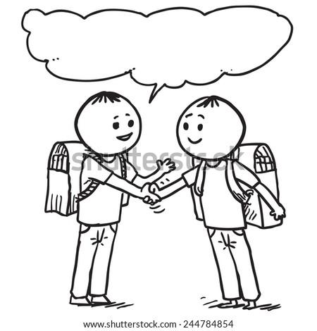 Two Schoolkids Shaking Hands Speaking Stock Vector 244784854