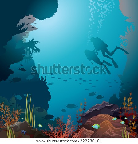 Two scuba divers and coral reef with underwater creatures.  - stock vector