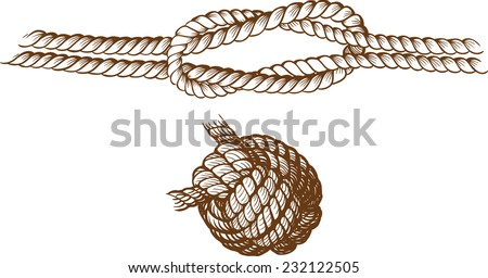 two sea knot as engraving drawn and isolated on a white background - stock vector
