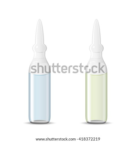 Two sealed medical ampoules with drug solution, 3d illustration, realistic vector object, eps 10 - stock vector