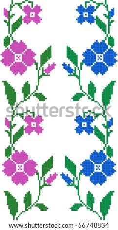 two seamless embroidered goods like handmade cross-stitch ethnic Ukraine pattern - stock vector